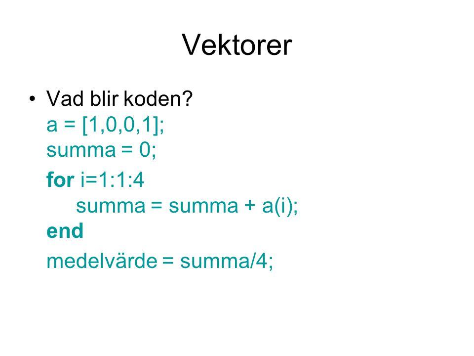 Vektorer Vad blir koden a = [1,0,0,1]; summa = 0;